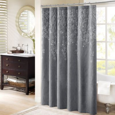 Marvelous Madison Park Tara Embroidered Shower Curtain In Grey