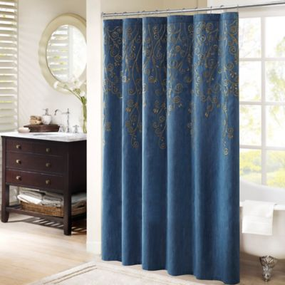 Madison Park Tara Embroidered Shower Curtain In Blue