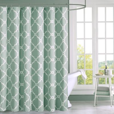 Madison Park Saratoga Shower Curtain In Seafoam