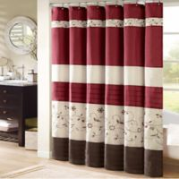Madison Park Serene 54-Inch x 78-Inch Embroidered Shower Curtain in Red