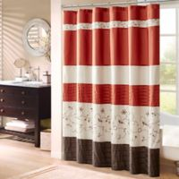 Madison Park Serene 72-Inch x 72-Inch Embroidered Shower Curtain in Spice