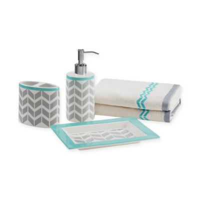 Buy teal accessories from bed bath beyond for Teal and grey bathroom accessories