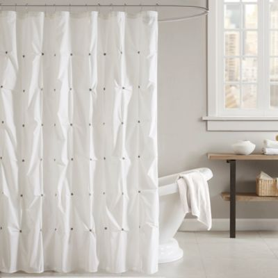 INK IVY Masie Shower Curtain In White