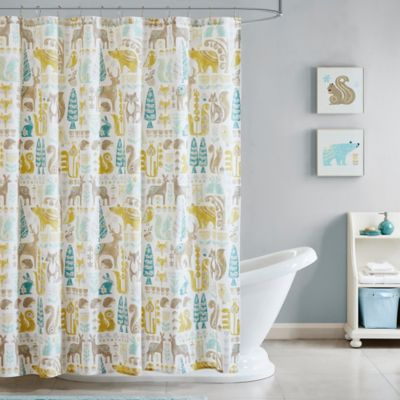 INK IVY Kids Woodland Printed Shower Curtain In Aqua