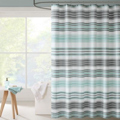 Intelligent Design Ana Puckering Stripe Shower Curtain In Aqua
