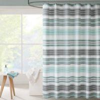 Intelligent Design Ana Puckering Stripe Shower Curtain In Aqua