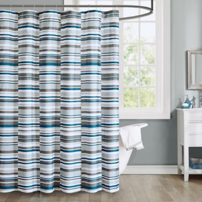 Intelligent Design Emmet Printed Shower Curtain in Blue Buy and Grey Curtains from Bed Bath  Beyond