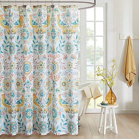 Intelligent Design Nina Printed Shower Curtain In Yellow Teal Bed Bath Amp