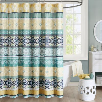 Intelligent Design Arissa Printed Shower Curtain In Green Yellow