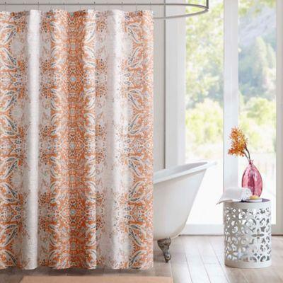 Intelligent Design Minet Printed Shower Curtain In Orange  Orange Shower Curtain