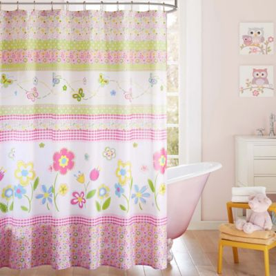 Attirant Mi Zone Kids Spring Bloom Printed Shower Curtain In White/Pink
