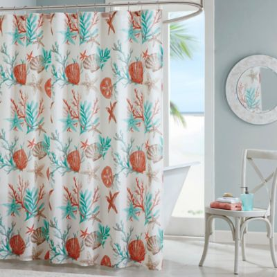 Turquoise And Coral Shower Curtain. Madison Park Pebble Beach Printed Shower Curtain in Coral Buy Fabric Curtains from Bed Bath  Beyond
