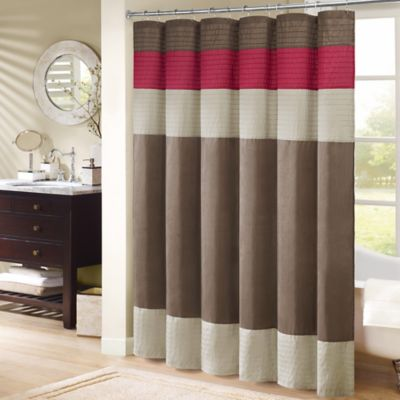 red and brown shower curtain. Madison Park Monroe 72 Inch x Shower Curtain in Red Buy Curtains Showers from Bed Bath  Beyond