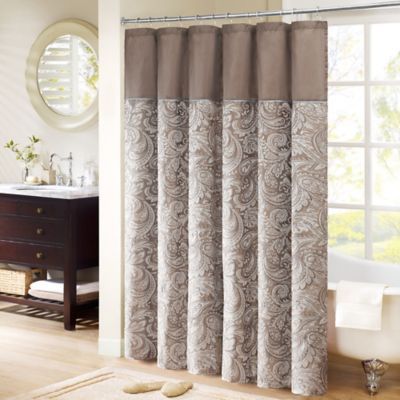 Madison Park Aubrey 54 Inch X 78 Inch Jacquard Shower Curtain In Brown