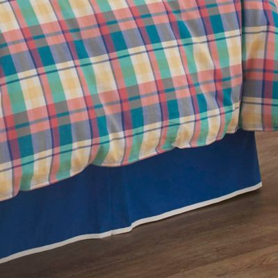 southern tide prep school plaid queen bed skirt in blue