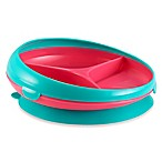 Tomy Toddler Suction-Bottom 3-Section Plate in Pink/Aqua