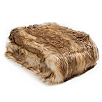 Wild Mannered Luxury Long Hair 36-Inch x 54-Inch Faux Fur Throw Blanket in Amber Fox