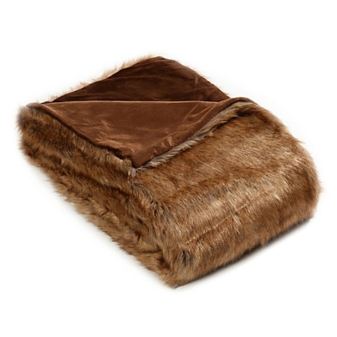 60-Inch x 58-Inch Coyote Faux Fur Throw Blanket