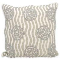 Kathy Ireland Home Rose Garden Square Throw Pillow in Silver