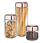 Artland Coppertino Metrix 3-Piece Square Storage Container with Copper-Finish Lid
