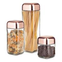 Artland Coppertino Metrix 3-Piece Square Storage Container with Copper-Finish Lid