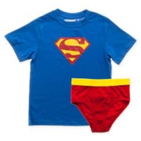 DC Comics™ Small 2-Piece Superman T-Shirt and Underoos Diaper Cover Set in Blue/Red