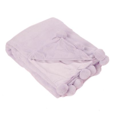 Luxe Faux Fur Pom Throw Blanket In Lavender