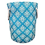 Damask Canvas Fabric Hamper in Aqua/White
