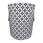 Canvas Fabric Hamper in Grey/White