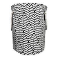 Canvas Fabric Hamper in Black/White