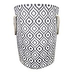 Ikat Canvas Fabric Hamper in Grey/White