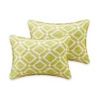 Madison Park Delray Diamond Printed 14-Inch x 20-Inch Decorative Pillow in Green (Set of 2)