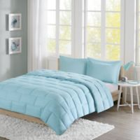 Intelligent Design Avery Seersucker Down Alternative Twin Comforter Mini Set in Aqua