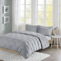 Intelligent Design Avery Seersucker Down Alternative Twin Comforter Mini Set in Grey