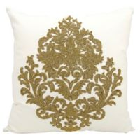 Mina Victory Beaded Damask 18-Inch Square Throw Pillow in Bronze