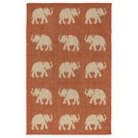 Liora Manne Terracotta Elephant 1-Foot 11-Inch x 2-Foot 11-Inch Indoor/Outdoor Rug in Terracotta