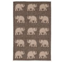 Liora Manne Terracotta Elephant 1-Foot 11-Inch x 2-Foot 11-Inch Indoor/Outdoor Accent Rug in Silver