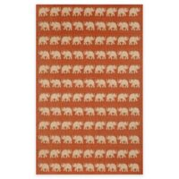 Liora Manne Terracotta Elephant 4-Foot 10-Inch x 7-Foot 6-Inch Indoor/Outdoor Area Rug in Terracotta