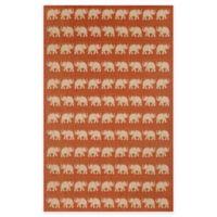 Liora Manne Terracotta Elephant 7-Foot 10-Inch x 9-Foot 10-Inch Indoor/Outdoor Rug in Terracotta