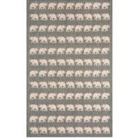 Liora Manne Terracotta Elephant 7-Foot 10-Inch x 9-Foot 10-Inch Indoor/Outdoor Area Rug in Silver