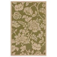 Liora Manne Terracotta Floral 1-Foot 11-Inch x 7-Foot 6-Inch Indoor/Outdoor Runner in Green