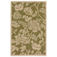Liora Manne Terracotta Floral 4-Foot 10-Inch x 7-Foot 6-Inch Indoor/Outdoor Area Rug in Green