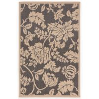 Liora Manne Terracotta Floral 4-Foot 10-Inch x 7-Foot 6-Inch Indoor/Outdoor Area Rug in Charcoal