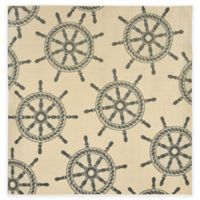 Liora Manne Ship Wheel Marine 7-Foot 10-Inch x 7-Foot 10-Inch Indoor/Outdoor Rug in Tan/Blue
