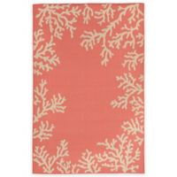 Liora Manne Terrace Coral Border 1-Foot 11-Inch x 7-Foot 6-Inch Indoor/Outdoor Rug in Coral