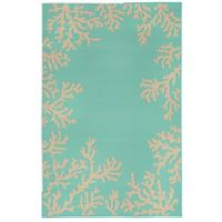 Liora Manne Terrace Coral Border 4-Foot 10-Inch x 7-Foot 6-Inch Indoor/Outdoor Rug in Turquoise