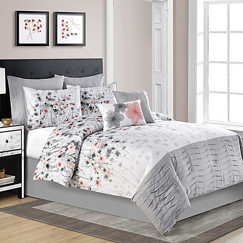 Calysta Comforter Set In Coral Grey Bed Bath Amp Beyond