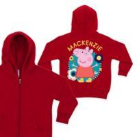 Peppa Pig Size 4T Flower Fun Zip-Up Hoodie in Red