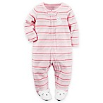 carter's® Newborn Terry Zip-Front Cat Striped Footie in Pink