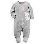 carter's® Size 3M Mouse Cotton Snap-Up Sleep & Play Footie in Grey Dot